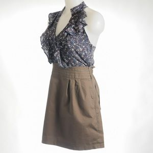 A gaci Size Medium Flower Top, Khaki Cotton Dress